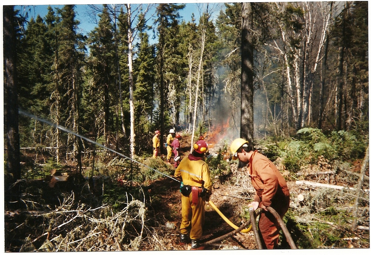 Working on the fireline with hose, 2 3-man crews